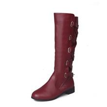 Mùa Thu Nữ Đầu Gối Cao Giày Bốt Thời Trang Nữ Chắc Chắn PU Khóa Dây Nữ Mũi Tròn Da Giày Thấp Gót Vuông botas Mới(China)
