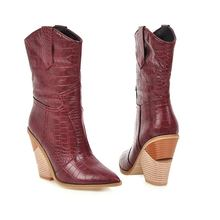Grande taille 34-48 nouveau 2020 femmes bottes faux cuir sabot talons hauts automne hiver bottines femme cowgirl dames western bottes(China)