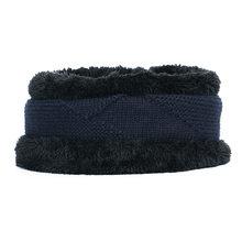 2019 inverno nova malha chapéu terno chapéu cachecol dos homens forro de pele grossa quente balaclava ski moda algodão de alta qualidade cap frio equitação(China)