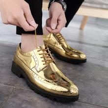 2019 skórzane buty na co dzień mężczyźni Superstar Brogues buty skórzane wizytowe Oxford złote buty sznurowane Hombres srebrny duży rozmiar 46 Ghn(China)