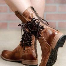 Fujin Qualität PU Leder Plattform Kurze Stiefel Frauen Zip Wohnung Kuh Muscle Sohle Winter Stiefel Frau Chaussures Femme Große Größe 43(China)