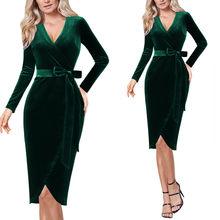 Vfemage женские бархатные элегантные сексуальные платья в горошек с v-образным вырезом и поясом для работы, офиса, бизнеса, вечерние облегающие ...(China)