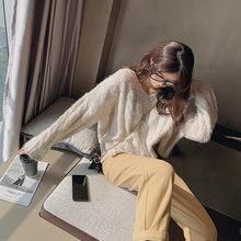 Mishow V Leher Solid Merajut Wol Sweater Wanita Longgar Pullover Musim Gugur Musim Dingin Hangat Sweater dan Pullovers Wanita Fashion Baru MX19D5722(China)