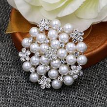 Vendita Diretta della fabbrica Di Cristallo Diamante & Imitazione Della Perla di Modo Fiore Foglia e Cervi Spilla Spilli per Le Donne in Disegni Assortiti(China)