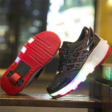 ילדי נעליים עם LED אורות ילדי רולר סקייט סניקרס עם גלגלים זוהר Led אור עד עבור בני בנות Zapatillas קון ruedas(China)