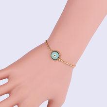 Pavé pierre CZ turc Horus oeil Bracelet bleu mauvais yeux rond Bracelet à breloques Stretch femmes mode bijoux Bracciale Donna(China)
