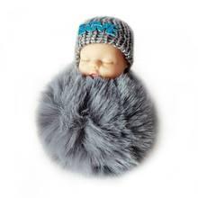 Ocday dormir bebê boneca de pelúcia chaveiro criativo bonito pequeno macio pele boneca pingente carro saco charme macio bola chaveiro brinquedo para crianças(China)