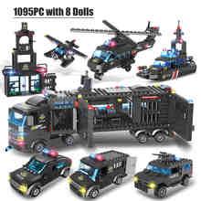 HIPAC 1095 pièces blocs de Construction SWAT ville poste de Police voiture camion maison hélicoptère blocs constructeur Construction jouets technique(China)