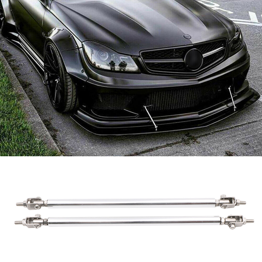 2x Silver Adjustable Bumper Lip Diffuser Splitter Rod Strut Tie Bar Air Dam Splitter Support Rods 150mm