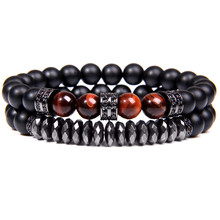 Natural Stone Bracelet Obsidian Men Braslet Beads Fatima Hand Bracelets for Women Men Elastic Couple Bracelet Femme Jewelry(China)