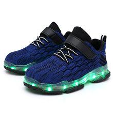 2019 ילדים חדשים USB סניקרס הזוהר זוהר ילדי אורות עד נעליים עם Led כפכפים בנות מואר Krasovki הנעלה בנים(China)
