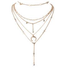Nova moda jóias colar de instrução gótico temperamento multicamadas pentagrama lua colar de luxo por atacado(China)