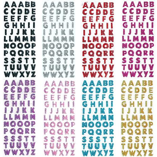 Self Adhesive ABC A-Z Words Stick On Glitter Crystals Alphabet Letter Stickers