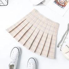 Kobiety Mini zakładka spódnica Harajuku Preppy styl kratę spódnice słodkie japońskie mundurki szkolne panie jupiter Kawaii spódnica Saia Faldas(China)