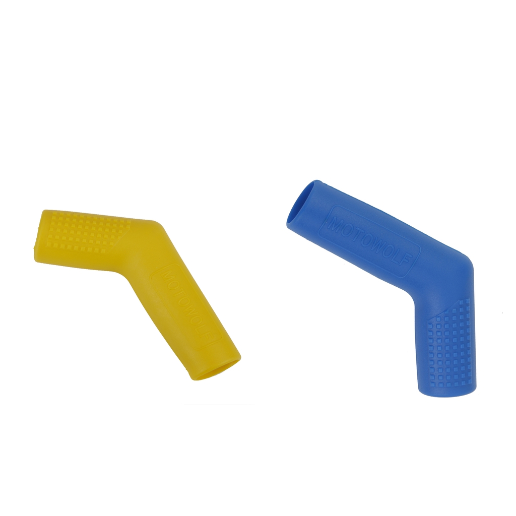2 Pieces Shifter Cover Peg Shift Lever Covers Boot Shoe Protector Motorcycle Gear Set, Blue+Yellow