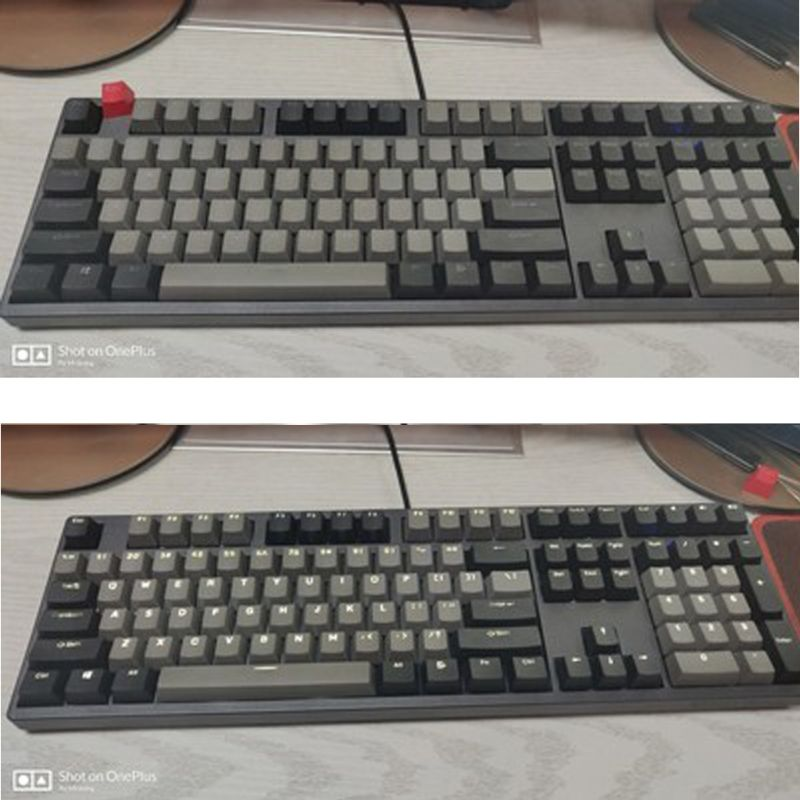 Tebatu PBT 108 Key for Dolch,Layout Bi-Color Injection Over Molding Keycap Black Gray Mixed