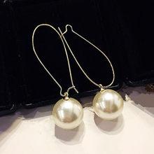 Ey900 coréen à la mode exagéré tempérament personnalité Imitation blanc perle grand cercle boucles d'oreilles femme bijoux accessoires(China)