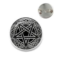 Baru Setan Baphomet Pentagram Bros Gothic Kaca Cabochon Kerah Pin Setanisme Jahat Okultisme Pentakel Perhiasan Pagan Pesona Hadiah(China)