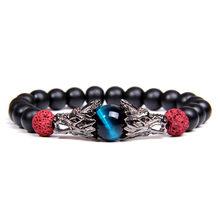 Bracelets en pierre bleu Royal avec œil de tigre bracelet en argent traditionnel antique avec breloque Dragon pour hommes bracelet en Onyx noir mat élastique pour femmes(China)