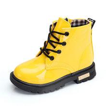 Çocuk botları kızlar çizmeler su geçirmez Patent deri yürümeye başlayan çocuk botları Martin moda erkek ayakkabı kar botları çocuk boyutu 21- 36(China)