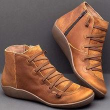 المرأة بولي Leather جلد حذاء من الجلد النساء الخريف الشتاء عبر Strappy Vintage النساء فاسق الأحذية المسطحة السيدات أحذية امرأة بوتاس Mujer(China)
