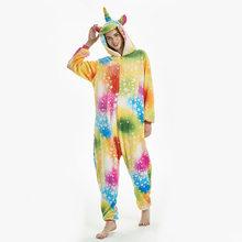למבוגרים Kigurumi Unicorn פיג 'מה חורף נשים גברים Coulple פיג' מה פלנל חורף בעלי החיים Onesies הלבשת קוספליי סרבל(China)
