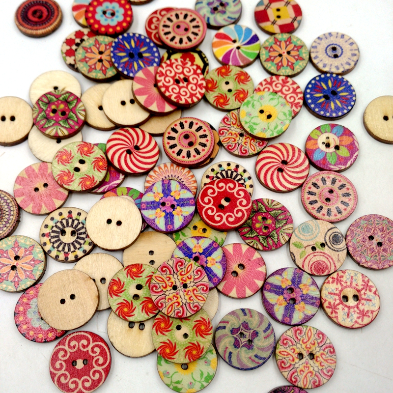 Pack of 100 Assorted Retro Style Flower Buttons-Wood Buttons Sewing Scrapbooking 2 Holes, 20mm Round