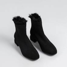 ALLBITEFO büyük boy: 33-43 akın + tavşan saç kış kar kadın botları marka yüksek topuklu yarım çizmeler kadınlar için martin çizmeler(China)