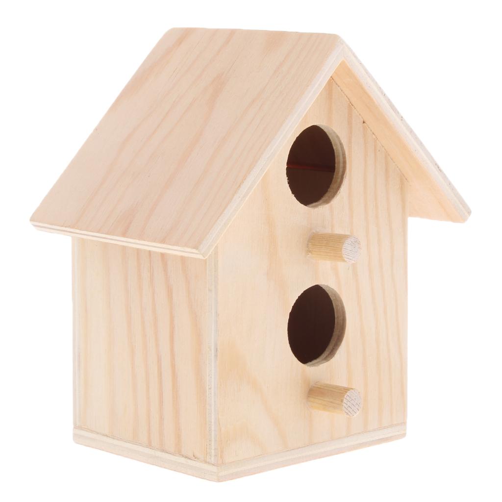 Birdhouse - Cage Rough Wood Perch Hut - Wooden Cabin Birdhouse for Birds