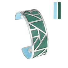 Cremo Egypt Bangles Cuff Bracelets Argent Femme Manchette Stainless Steel Bracelet Reversible Interchangeable Stripe Pulseiras(China)