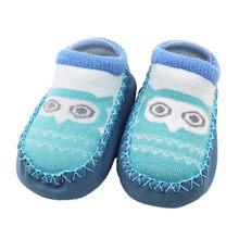 Nieuwe Baby Sokken Schoenen Leuke Cartoon Uil Afdrukken Schoenen Winter Zachte Meisjes Jongens Anti-Slip Sokken Slipper Schoenen laarzen Dropship(China)