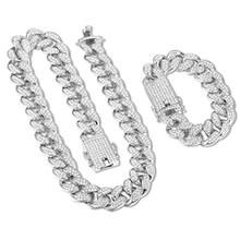 Męska Iced Out Hip Hop bransoletka naszyjnik biżuteria 18mm kubański naszyjnik łańcuch biżuteria złoto srebro Rhinestone CZ zapięcie jubilerskie(China)