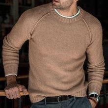 니트 패치 워크 느슨한 가을 남성 스웨터 o-넥 캐주얼 긴 소매 남성 스웨터 2019 겨울 따뜻한 솔리드 패션 남자 풀 오버(China)
