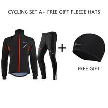 ROCKBROS Musim Dingin Bersepeda Set Thermal Sepeda Memakai Bersepeda Seragam Pakaian Pria Wanita Tetap Hangat Tahan Angin Jersey Set Bersepeda Suit(China)