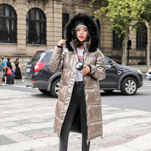 Women Parka Coats Autumn Winter Shiny Women's jacket Outwear Silver thick Jackets girl warm loose fashion Glossy long coats(China)