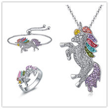 Qilmily Colorful Unicorn Inlaid Zircon Set Necklace&Bracelet&Earring&Ring for Women Girls Gold Pull Adjustable Jewelry Gifts Hot(China)
