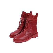 QUTAA 2020 Kaliteli At Cilt Kare Topuk Konfor Orta Buzağı Çizmeler Yuvarlak Ayak Lace Up Fermuar Sonbahar Kış Kadın Ayakkabı boyutu 34-41(China)