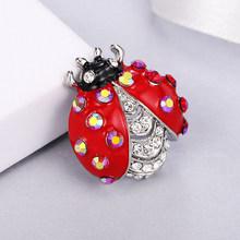Maikale Vintage Kristal Merah Ladybug Bros Pin Rhinestone Enamel Serangga Bros untuk Wanita Gadis Kain Kemeja Tas Aksesoris(China)