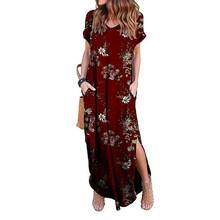 فستان نسائي مثير حجم كبير 5XL صيف 2019 الصلبة عادية كم قصير ماكسي فستان للنساء فستان طويل شحن مجاني زي نسائي(China)