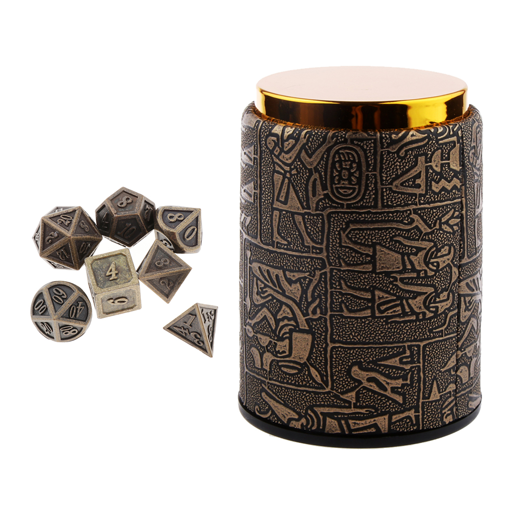 7 Pieces DND Dice Set with Dice Cup - Metal Polyhedral Dungeons and Dragons Dice Sets for RPG Gaming (14mm)