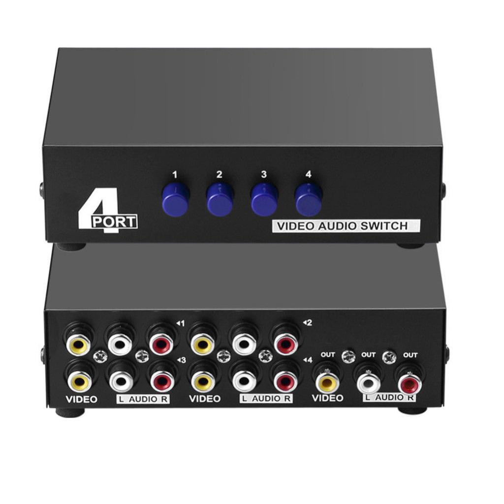 4Port AV Switch 3 RCA Splitter Adapter 4 Input 1 Output L/R Audio Video Switcher Selector Box, Button Manual Switches