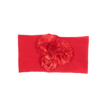 Nishine Soft Stretch Satin Rose Flower Baby Headband Newborn Knot Wide Nylon Headwraps Turban Girls Headwear Kids Photo Props(China)
