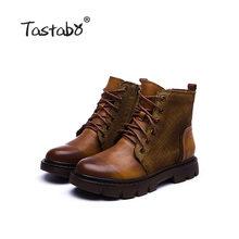 Tastabo 2019 Mùa Thu Và Mùa Đông Boot Tay Vintage Giày Bốt Martin Đeo Giày Nữ S8026-1 Xanh Đậm Nâu Caramel(China)