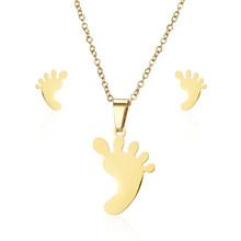 Rinhoo nowe mody złota ze stali nierdzewnej Hollow serce kot wisiorek naszyjnik i kolczyki Stud dla kobiet kobieta urok biżuteria prezent(China)