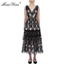 MoaaYina V boyun kadın elbise moda seksi Backless çiçek kadın Sequins katmanlı Midi elbise(China)