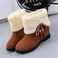 Bonjomarisa Mới Bán Nữ Thời Trang Mùa Đông Cổ Chân Ủng Nữ Lông Ấm Áp Giày Bốt Cổ Thấp Gót Giày Người Phụ Nữ(China)