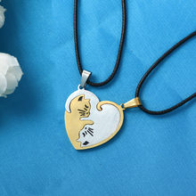 Couple heart necklace Cute Cartoon cat Pendant Necklace Gold Silver black animal Necklace Jewelry Gift for girl boys(China)