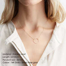 e-Manco Trendy Stainless steel Necklace simple round pendant necklace women thin choker necklaces for women(China)