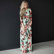 Sexy 2019 femmes printemps Boho vêtements filles blanc noir imprimer à manches longues Maxi longue robe de soirée grande taille vestidos de festa(China)