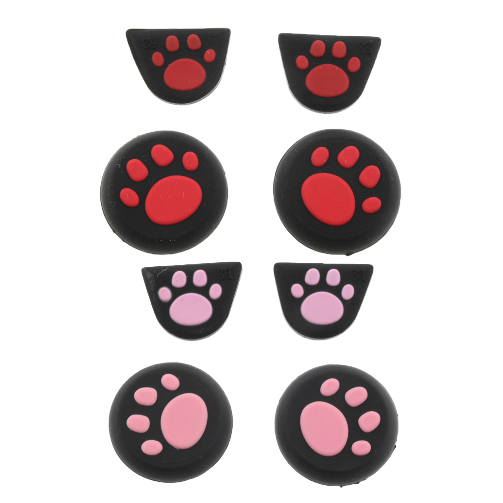 2 Set Thumb Grips Joystick Thumbsticks Analog Sticks Cap Cover Cat Paw Style for PS4 XBOX ONE XBOX 360 PS3 Controller Pink+Red